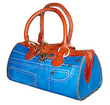 Genuine Leather Handbag/Jeans Designs,attractive Blue.truly Handmade,(Medium)