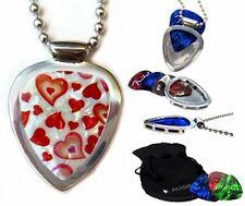 Guitar PICK Necklace Holder pendant Hearts + 3 picks PICKBAY Stainless Steel