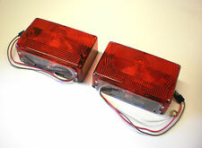Pair Red Box Stop Turn Tail Trailer Lights J-70 J70  RV Camper