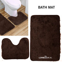 SHAGGY DESIGN BATH MAT SET Non Slip Pedestal Mat Toilet Bathroom Rugs Dark Brown