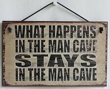 Man Cave Sign What Happens Stays Keep Out Party Guitar Men Band Room Only Garage