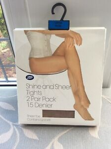 LADIES SHINE AND SHEER TIGHTS 2 PAIR PACK BY BOOTS IN NUDE SIZE LARGE