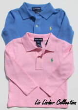 NWT Girls RALPH LAUREN POLO Long Sleeve Blue & Pink 2 Shirts size 2T Lot