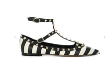 NIB Valentino Rockstud Black Ivory Striped Pointed Toe Ballet Flats Sz 36 $995