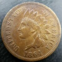 1864 Indian Head Small Cent Penny L on Ribbon Very Fine VF+ or Extremely Fine XF