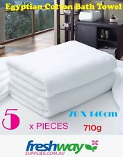 5 x Extra Large Bath Towel 5 Pieces 100% Egyptian Cotton White  710G, 70 * 140