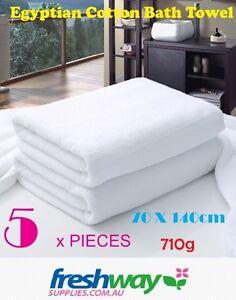 5 x Extra Large Bath Towel 5 Pieces 100% Egyptian Cotton White  710G, 70 * 140