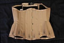 """Corsetry & Romance custom mink coutil corset w/ flossing 22"""" and corset bag"""