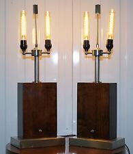 Par de espectaculares Ralph Lauren Palo De Rosa & Cromo Lámparas de Mesa RRP £ 6800 rara de encontrar