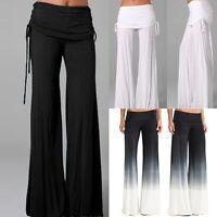 Hot Women' Casual Stretch Pants Wide Leg Long Bohemian Loose Palazzo Trousers XM