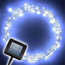 10M LED String Light Cold White Solar Power Copper Wire Fairy Party Outdoor Lamp