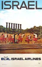 EL AL ISRAEL AIRLINES original poster c.1960 Dancing before Knesseth Menorah