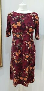NEXT Butterfly Maroon Jersey Tunic Dress Size 12
