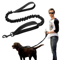 Dual Handle Dog Leash Elastic Stretch Nylon Rope Reflective Pet Leash Lead Black