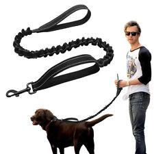 Dual Handle Dog Leash Elastic Stretch Nylon Rope Reflective Pet Leash Lead Black