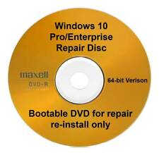 Windows 10 Pro / Enterprise 64 Bit Recovery Repair Restore Boot Disc Re Install