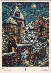 """alter Adventskalender """"Nächtliche Stadt"""", ungeöffnet, Mundgemalt Irene Schricker"""