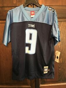 Steve McNair Tennessee Titans #9 Reebok NFL Jersey Size Youth Large (14-16) Blue