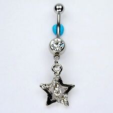 Star April Birthstone Dangle Belly Button Navel Ring Bar Piercing Jewelry (A33)
