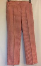 NWOT St. John Yellow Label Red Gingham Cotton Blend Dress Cropped Pants Sz 2
