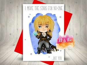 Cute Labyrinth Movie Inspired Valentines Card   I Move The Stars For No-One