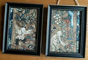 Two Small Antique Chinese Silk Embroidery Panels Framed 19th Century