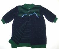 Newborn Baby Boy Crochet Gown Open Front Long Sleeve  0-9 Months
