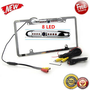 8 IR Night Vision Car Backup Rear View Camera US License Plate Frame CMOS Camera