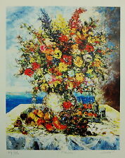 """""""Flowers"""" by Duaiv (Framed Fine Art Lithograph Contemporary Floral)"""