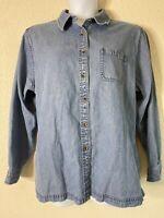 L.L. Bean Womens Size XL Blue Heavyweight Denim Button Up Shirt/Jacket Pocket