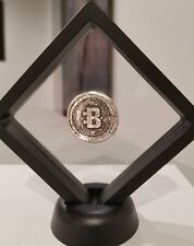 Bitcoin 1 oz .999 silver hand poured commemorative crypto currency framed New!