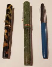 Vintage Sheaffer Calligraphy Pens Lot Of 3 Marbleized Green Blue