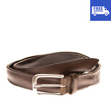 Leather Belt Size 95/38 Crumpled Cracked Effect Aged Metal Pin Buckle Closure