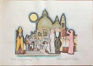 Bonciani Adorno litografia acquerellata a mano Matrimonio a Venezia I 50x70