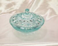 Vintage Light Blue Covered Indiana Glass Candy Dish With Lid Ornate