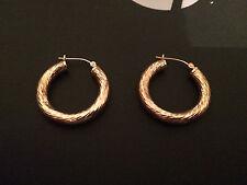 14k Solid  Yellow Gold Diamond Cut Hoop Earrings, 25MM