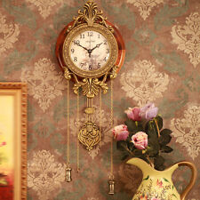 Antique Vintage Wooden Retro Style Vintage Wood Indoor Wall Clock with Pendulum