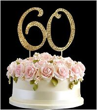 Diamante Rhinestone Gem Cake Pick Birthdays Anniversary Gold Number - 60