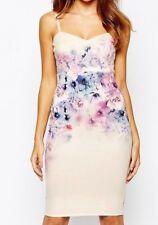 Lipsy Sexy Pencil Bodycon Dress 8 Lilac Cream Pink Floral Cami Wedding Xmas Part