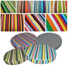 Round Box Shape Cover*Stripe Cotton Canvas Chair Seat Cushion Case Custom*AK2