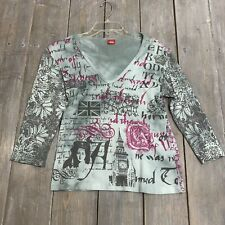 Glima womens 3/4 sleeve multi color v neck blouse top cotton USA adult L large