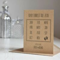 Calendar Style Pregnancy Announcement cards, New Baby, Due Date, Rustic Style