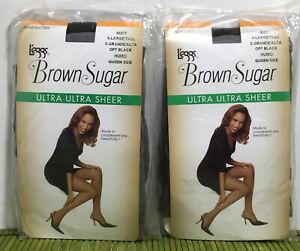Leggs Brown Sugar Ultra Ultra Sheer Extra Large/Tall Queen Size Off Black 2 Pair