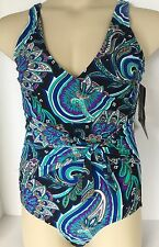 New Swimsuit 1 Piece 8 Surplice Wrap Tie Waist 2-Way Strap Paisley Suit Yourself