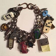 Vintage Look Art Charm Bracelet Funky Copper Jewelry