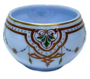 Continental Blue Opaline Hand Painted Enamel & Gilt Glass Bowl c1900