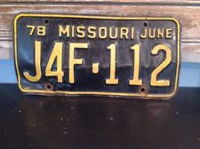 1978 Missouri license plate J4F-112 June 78 black yellow