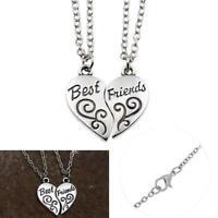 NEW BEST FRIEND Flowers 2 Pendants Necklace Half Heart Silver BFF Friendship GA