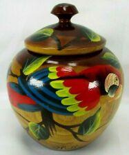 Decorative Wood Jar w Lid Hand Painted Parrot Leaves Haiti Trinket Storage Box