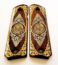 1911 custom engraved walnut wood grips gold silver Mexican Flag Eagle Aquila